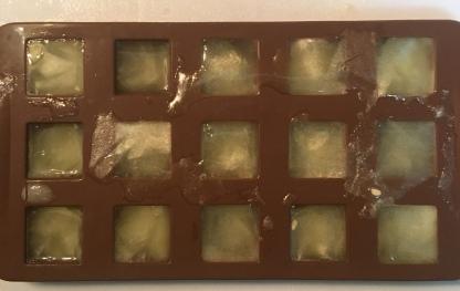 Frozen lemon cubes